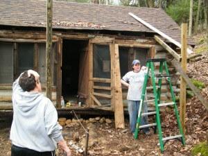 Work weekend grey squirrel cabin