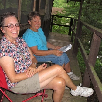 left to right: Sally McAlister with Linda Williams, Alumni Weekend at Camp Wyandot, 2011